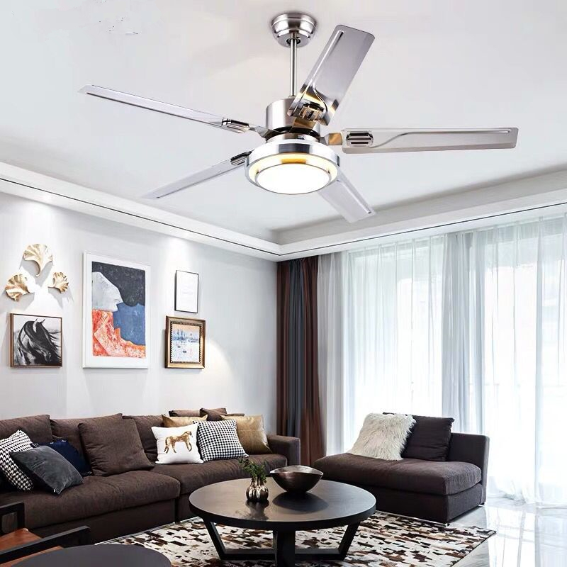 Modern Led   Ceiling Fan  5 Blad Esstainless Steel Ceiling Fans Lamps With Lights For Living Room Home  Dimming Lighting
