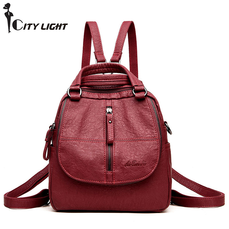 New Travel Lightweight Backpack Fashion Women Female Rucksack Leisure Student School bag Soft PU Leather Women Bag new travel backpack feminine korean women fashion backpack leisure student schoolbag black soft pu leather women bag 14ba31 9 2