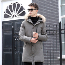 Brand High Quality New Winter 90% White Duck Down Jacket Men Mid-Long Solid Thicken Warm Fur Collar Hooded Male Outwears CO127
