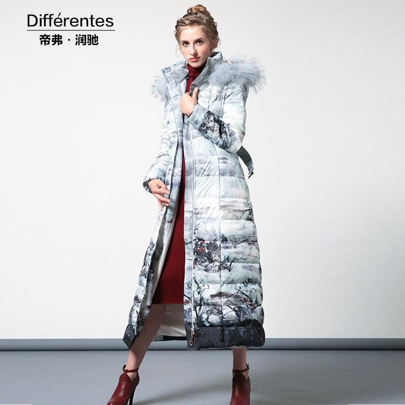 Plus size 2017 Winter Jacket Women   down   jackets Real fur collar   down     coat   women's   downs   jacket   down     coat   parkas X-long outerwear