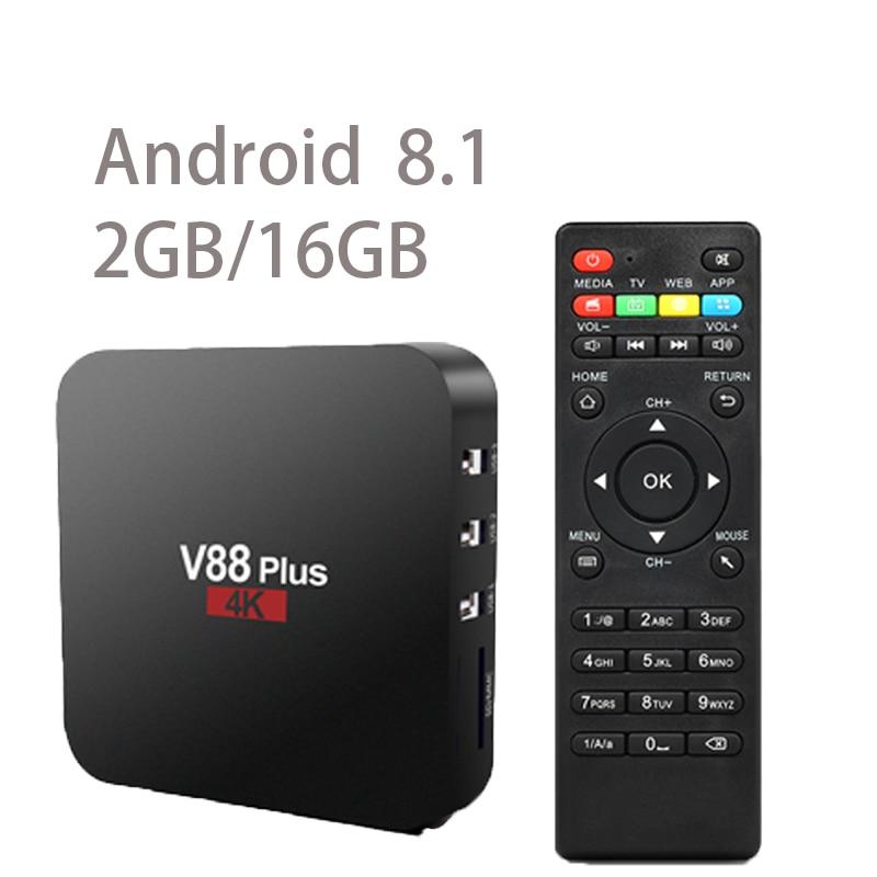 V88 Plus Smart TV Android 8.1 TV Box RK3229 Quad Core 4K USB2.0 2GB 16GB WiFi TV BOX HD Media Player Set Top Box himedia m3 quad core android tv box home tv network player 3d 4k uhd set top box free shipping