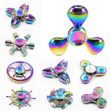 Smare Rainbow brass EDC Fidget Spinner Tri spinner Hand Spinner Toy Anxiety Stress Adults Kid Metal