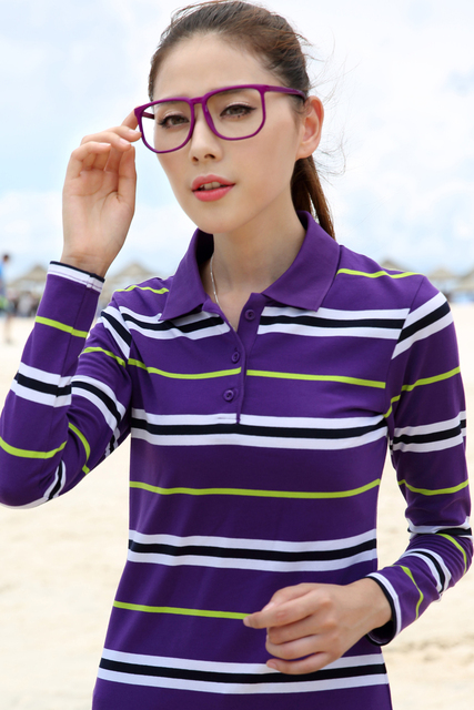 women long sleeve polo shirts sweater stripes wholesale custom turn down collar slim cotton brand women polos female 2017