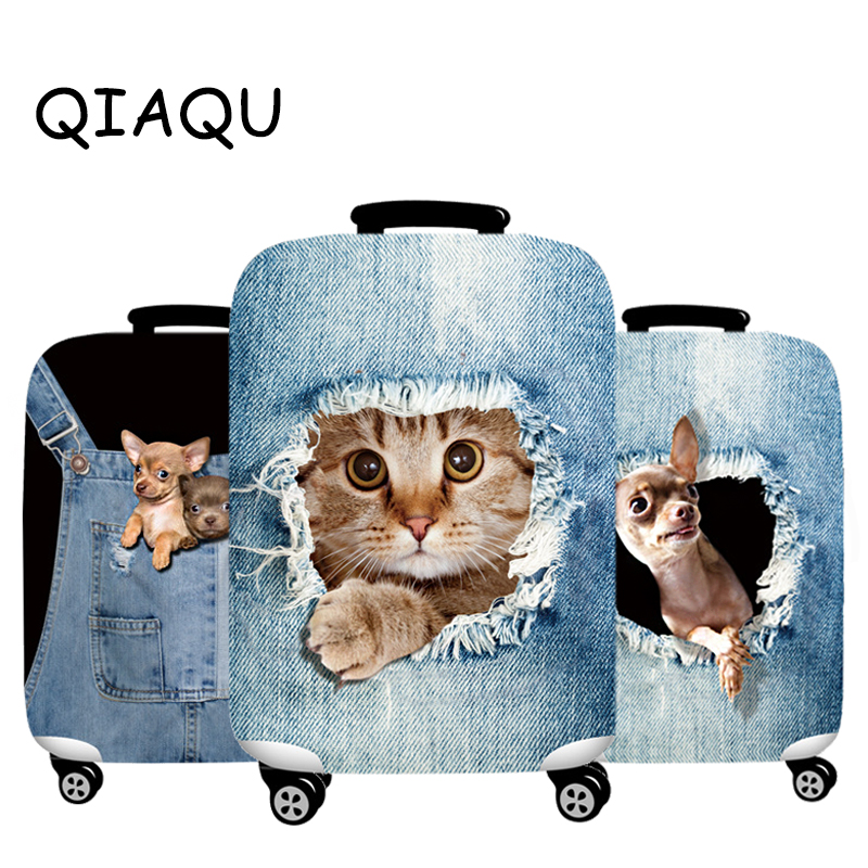 Elastic Luggage Cover Thick 3D Denim Animals Suitcase Protector Fit 18-32 Suitcase Cute Cat Dog Styles Soft Travel Accessories