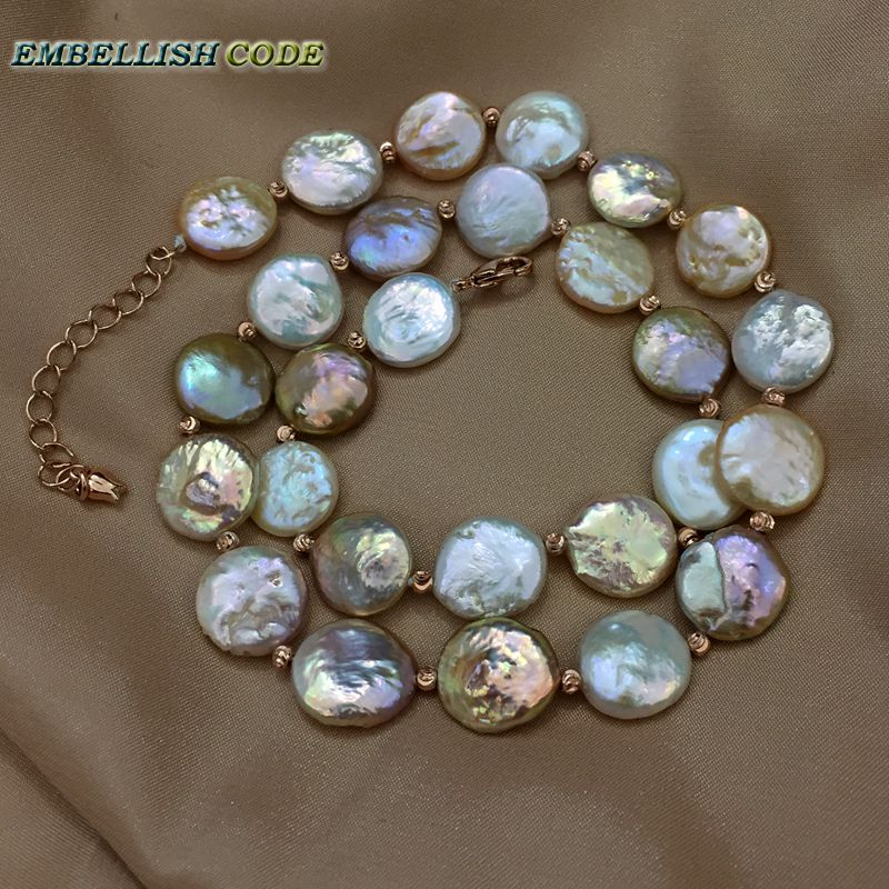 Baroque perle choker déclaration collier mixte couleur pièce ronde forme plate naturel perles d'eau douce avec rouge doré 3mm perles