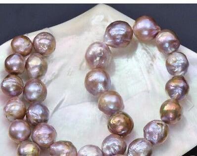 12-13mm naturel mers du sud rose violet kasumi collier de perles 18 pouces