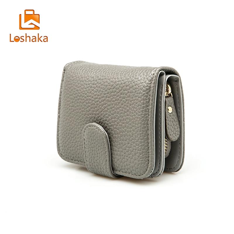 Loshaka Women Short Wallets Men High Quality PU Leather Purses Nubuck Card Holder Wallet Fashion Causal Zipper Coin Purses