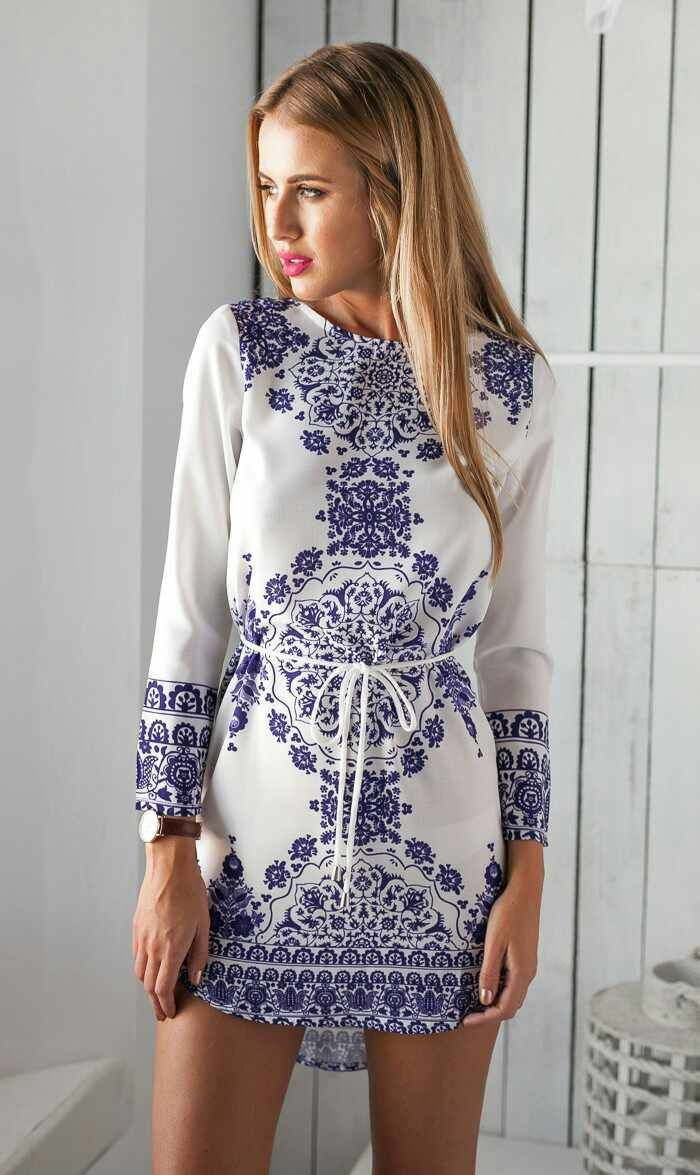e0441ca15cae5 LD020 Bohemia Blue And White Porcelain Pattern Women Straight Dresses Long  Sleeve Summer Girls Casual Dress Vestidos