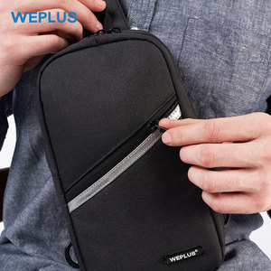 Image 5 - Weplus crossbody 가방 남자 여자 방수 가슴 가방 팩 안티 절도 어깨 가방 남자에 대 한 작은 가방 usb 헤드폰 와이어 포트