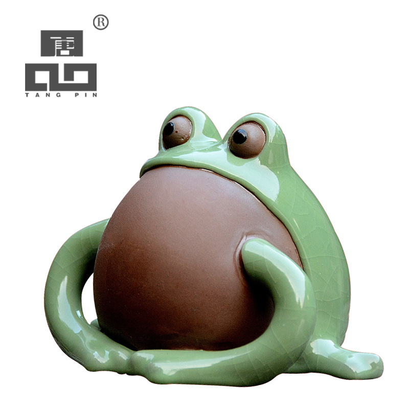 TANGPIN green frog purple clay coffee and tea tools ceramic tea pets chinese kung fu tea accessories