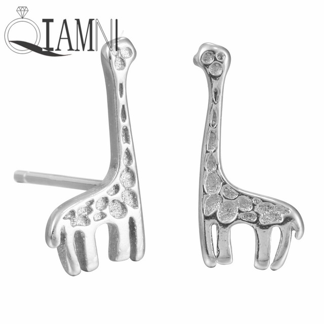 QIAMNI 925 Sterling Silver Giraffe Animal Stud Earrings for Women Girls Charm Christmas Jewelry  Valentine Lover Gift