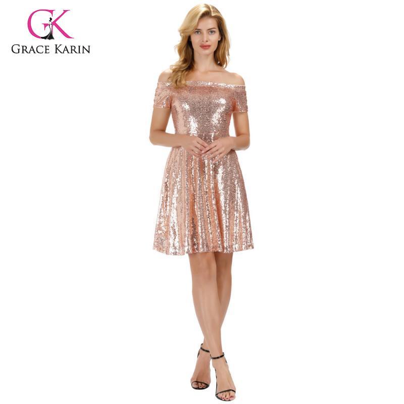 Grace Karin shiny Women's Sequins Short Sleeve Off Shoulder A Line Skater Dress cocktail midi knee length dress