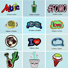 Music Love Fish FOMO Patches Cap Shoe Iron On Embroidered Appliques DIY Apparel Accessories Patch For Clothing Fabric Badges BU7