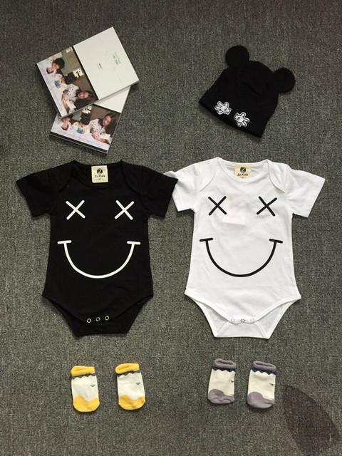 Preax Crianças Roupas de Bebê Roupas Para Bebês Recém-nascidos Bebe Corpo de Manga Curta Bodysuites rosto sorriso Verão Macacão Infantil Roupas de Bebê Menina