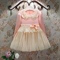 Moda de nova 2016 bebê roupas de menina princesa vestidos para meninas do bebé rendas arco de pérolas vestido de festa da menina tutu vestidos 3 T - 9 T