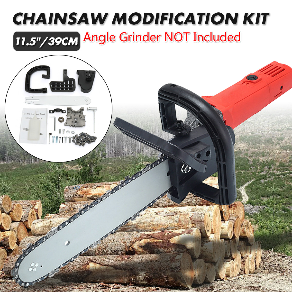 11.5inch  39cm Woodworking Non-Regulating Chainsaw Refit Kit Upgrade Chainsaw Bracket Changed 100 Angle Grinder Tools