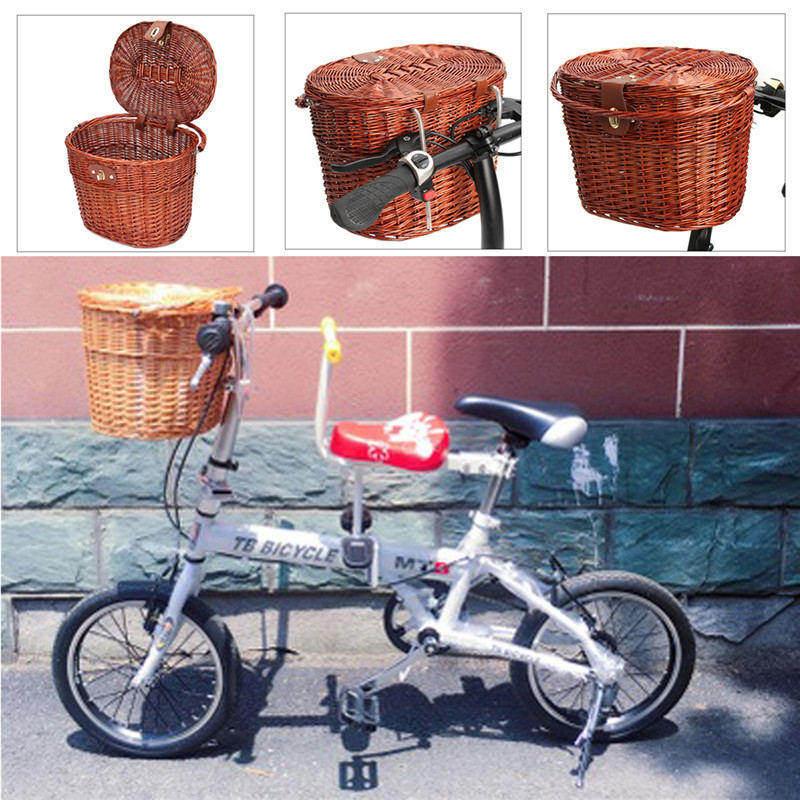 Nouvelle Arrivée Classique Brun Rotin En Osier Vélo Panier avec Couvercle Naturel 36.5x34 cm Vélo Loisirs Sac Accessoires dans Sacs de vélos et sacoches de Sports et loisirs