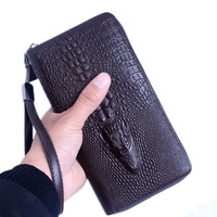 2016 New 3D Crocodile Grain Women Long Wallets Pu Leather Embossed Designer Famous Brand Female Handbag