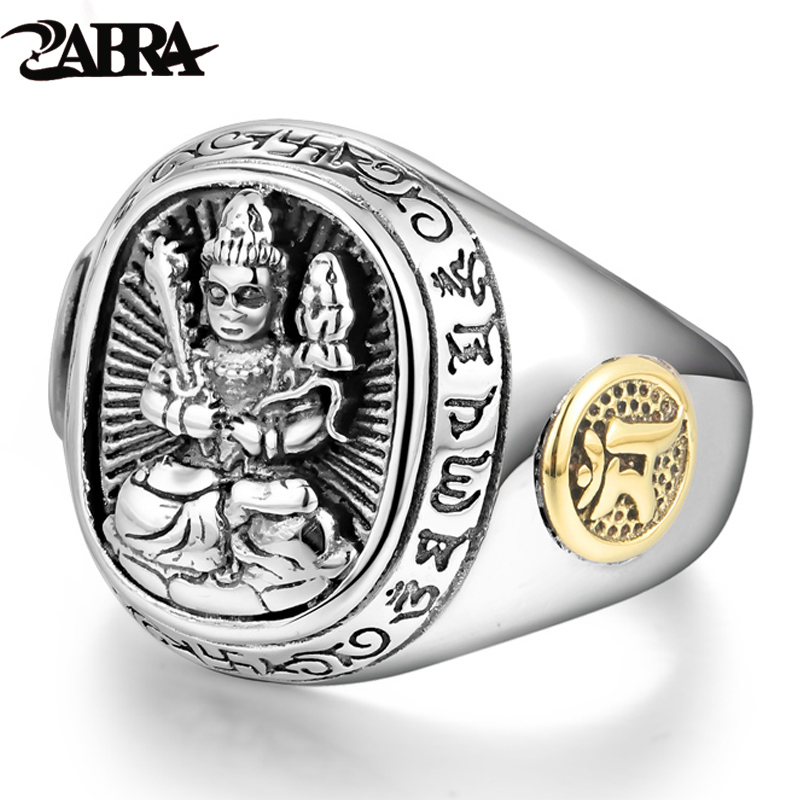 ZABRA Buddha Real 925 Silver Rings For Women Men Chinese Zodiac Patron Saint Vintage Mens Signet Ring Adjustable Biker Jewelry