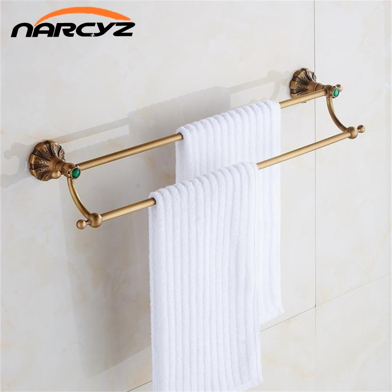 Antique Bronze Finish Toilet Brass Double Towel Bar Vintage Towel Bar In Towel Holder Bathroom Accessories 9084K y3698 retro napkin towel toilet paper bin basket holder antique brass