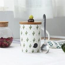 Nette Kaktus Becher Kaffee Tassen Kreative Milch Tee Tasse Mit Deckel Löffel Hause Morgen Tassen