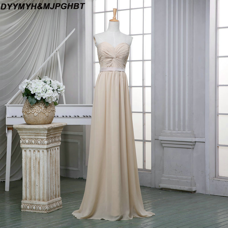 Elegant Nude Chiffon Bridesmaid Dress Sweetheart with Pleat Long ...