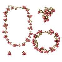 Europa e nos Estados Unidos Estilo Cobre Cranberry Natural Pérola Colar Pulseira Broche Brincos Mulheres Conjuntos de Jóias