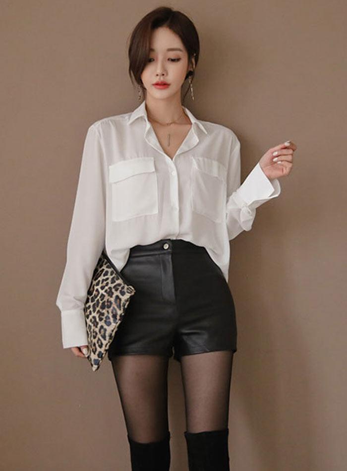 High Waist PU Leather Shorts Korean Fashion Black Spring Autumn Women Shorts Cool Skinny Work Party Wear Female Shorts 23
