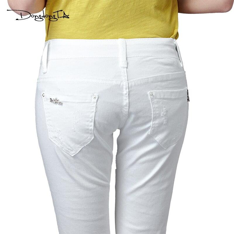 Dongdongta Kvinder Piger Hvid farve Jeans 2017 Nyt design Sommer - Dametøj - Foto 6