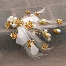 Fashion Bride feather headband sweet Smart hair accessories wedding Party jewelry decoration Hat Hair Clip Women Cocktail