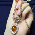 10*12mm New arriving Perfact 100% real 925 sterling silver natural flower amber pendant necklace