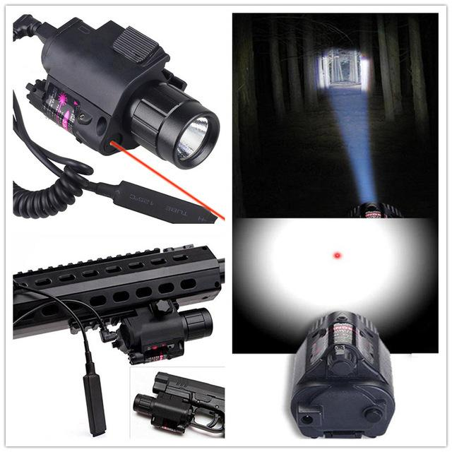 2017 New Tactical Gear 2in1 Cree Led Flashlight light red Laser sight Combo For Shotgun Glock Weapon Lights With Red dot sight in Riflescopes from Sports Entertainment