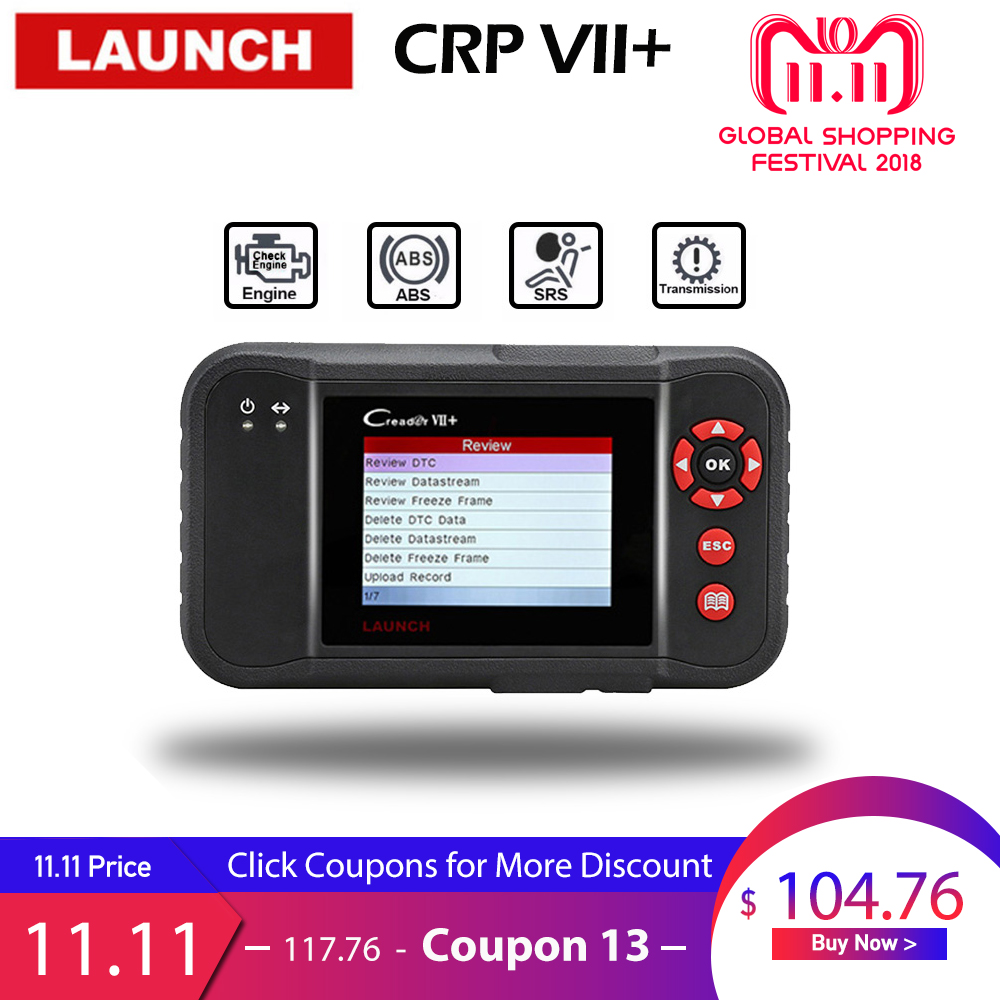 Launch X431 Creader VII Plus VII+ Auto Code Reader OBD2 OBD 2 Scanner Launch CRP123 OBDII Diagnostic Tool Automotive Scan Tool launch direct store x431 easydiag 2 0 obd2 code reader easy diag 2 0 with bluetooth support all cars with 16 pin obd port