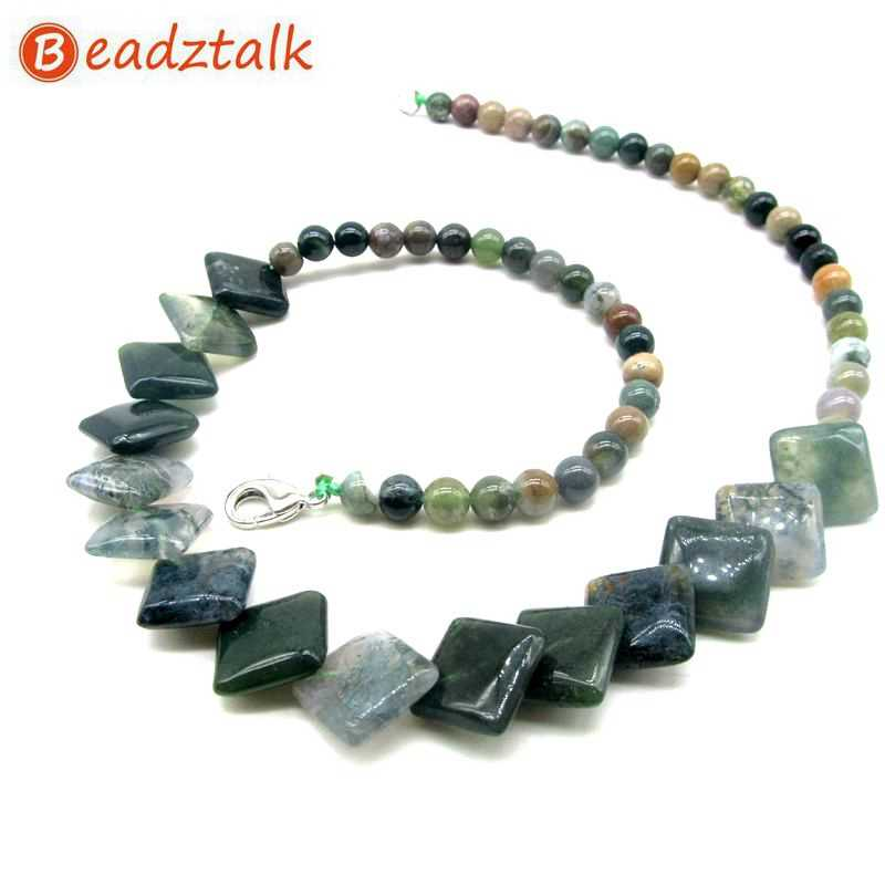 BEADZTALK Natural Moss Crystal Stone Beads Necklaces Square Pave Beaded Necklace Tiger Eye Jewelry