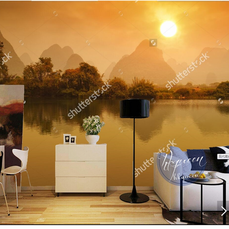 Custom China wallpaper,Sunset landscape in guilin,natural scenery for the living room bedroom dining room background wall