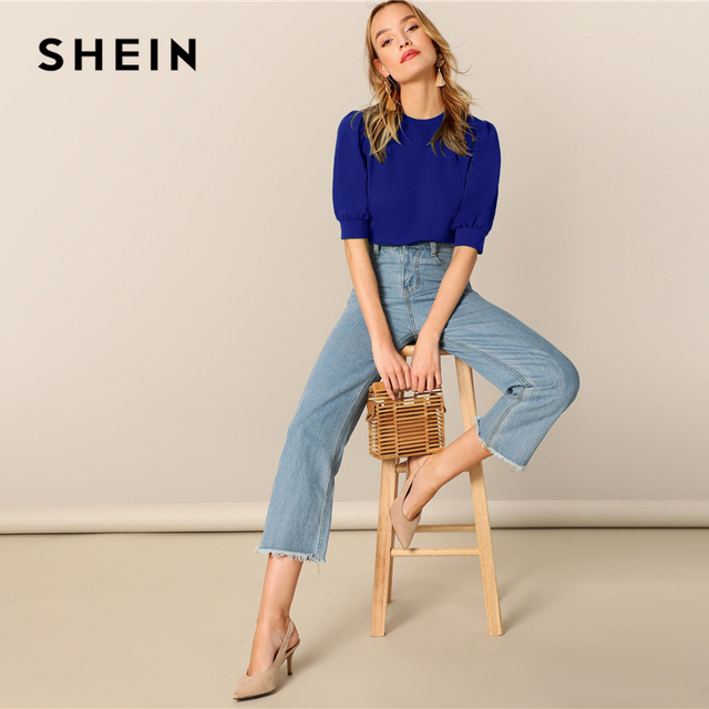 SHEIN Ladies Casual Green Puff Sleeve Keyhole Back Solid Top And Blouse Women 2019 Summer Workwear Half Sleeve Elegant Blouses
