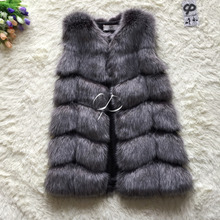 CP Brand Faux Fur Vest Winter Warm Long Women Faux Fox Fur Vest Furry Slim Woman