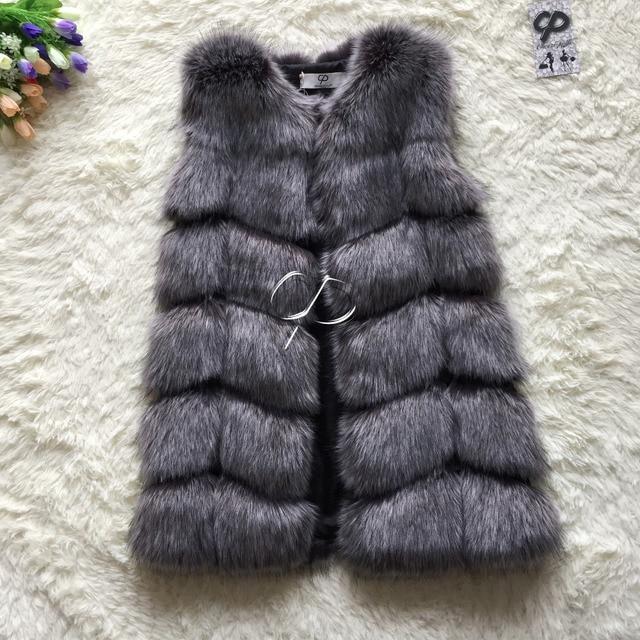 CP Brand Faux Fur Vest Winter Warm Long Women Faux Fox Fur Vest Furry Slim Woman Fake Fur Vest Plus Size Fur Vests High Quality
