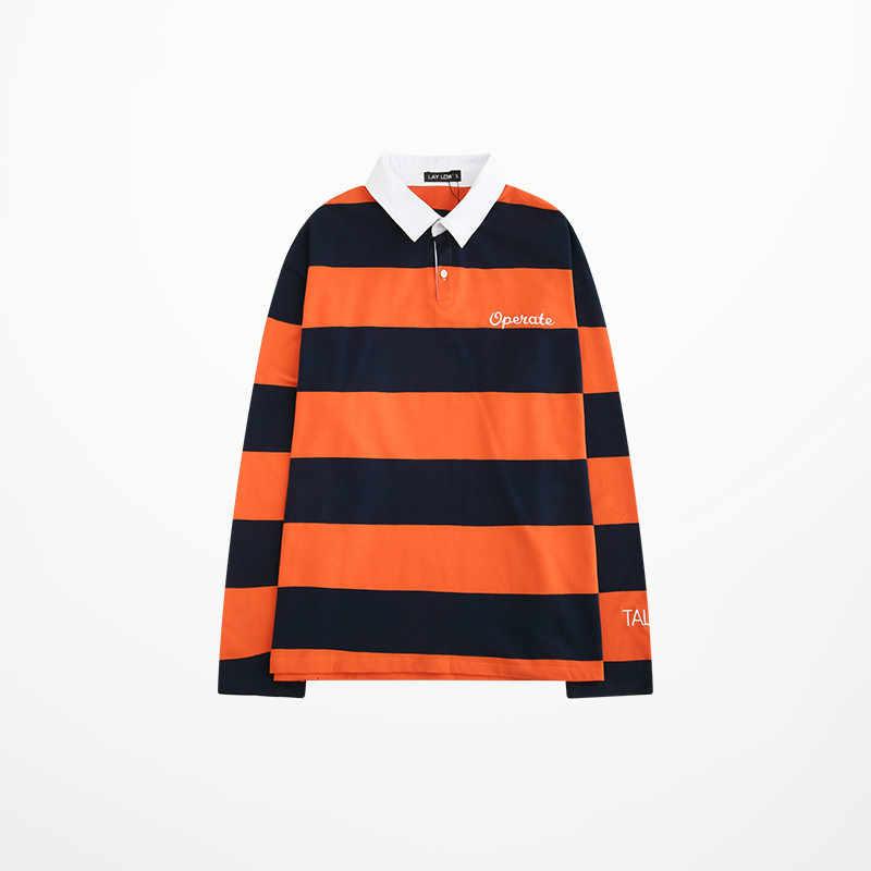 ผู้ชายแขนยาวสีส้มเสื้อโปโลแฟชั่น Gothic เย็บปักถักร้อย Harajuku Strip คุณภาพสูงเสื้อโปโลผู้ชายชายหรูหรา