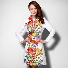 Limit Stock Cheap 2016 Autumn Fall Fashion Dobby Long Sleeve Long Floral Flower Print Trench font