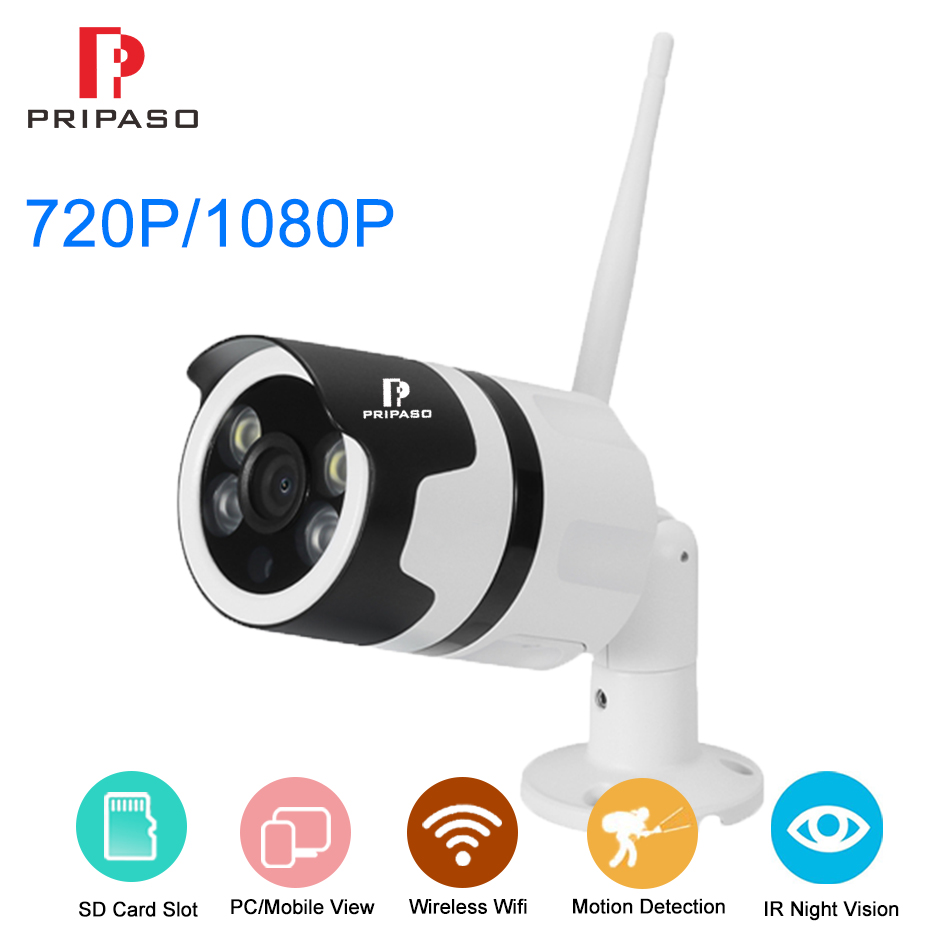Pripaso Wireless Ip Camera 720P 1080P Outdoor Security Wifi Camera P2P Two Way Audio Support SD Card Slot Max 128 G