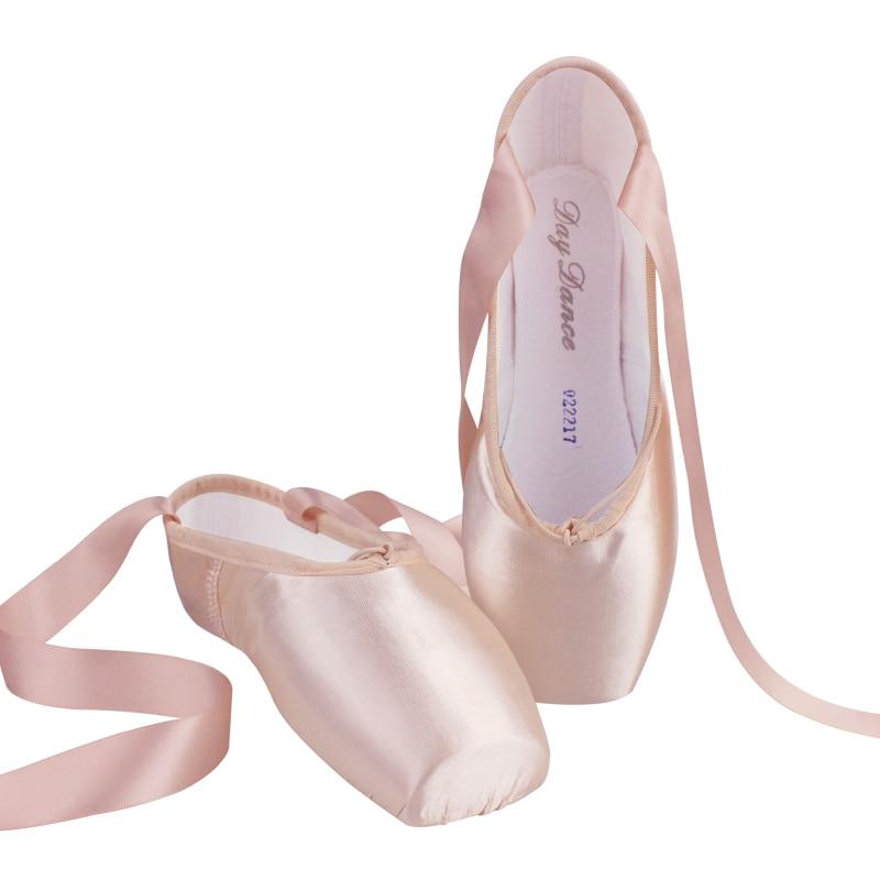 Chaussures de ballerine en toile de Satin pour filles, chaussures de danse, pointes de Ballet rose et rouge
