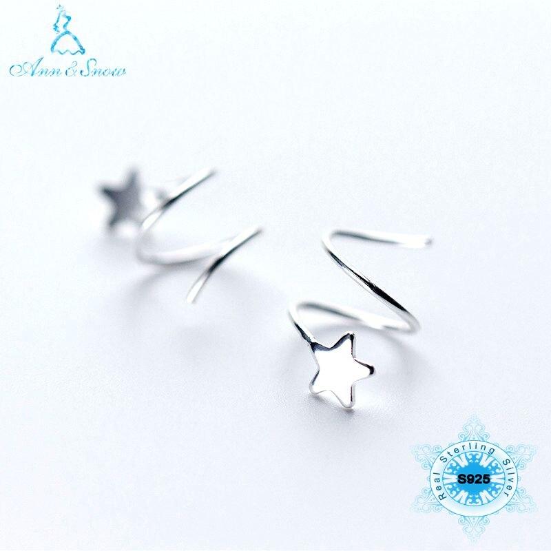 Christmas Pure 925 Sterling Silver Women Cute Girls Earrings 100% 925 Fine Jewelry Star Spiral Real Silver Earring