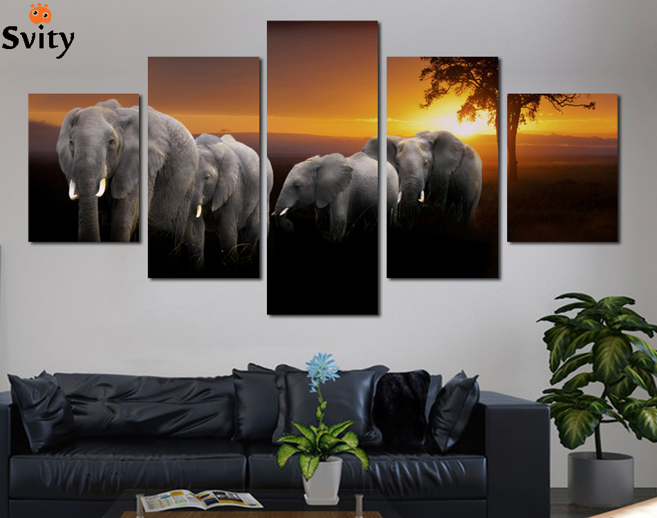 5 pcs dcoration de la maison salon impression sur toile lphant peinture photo canvas wall art