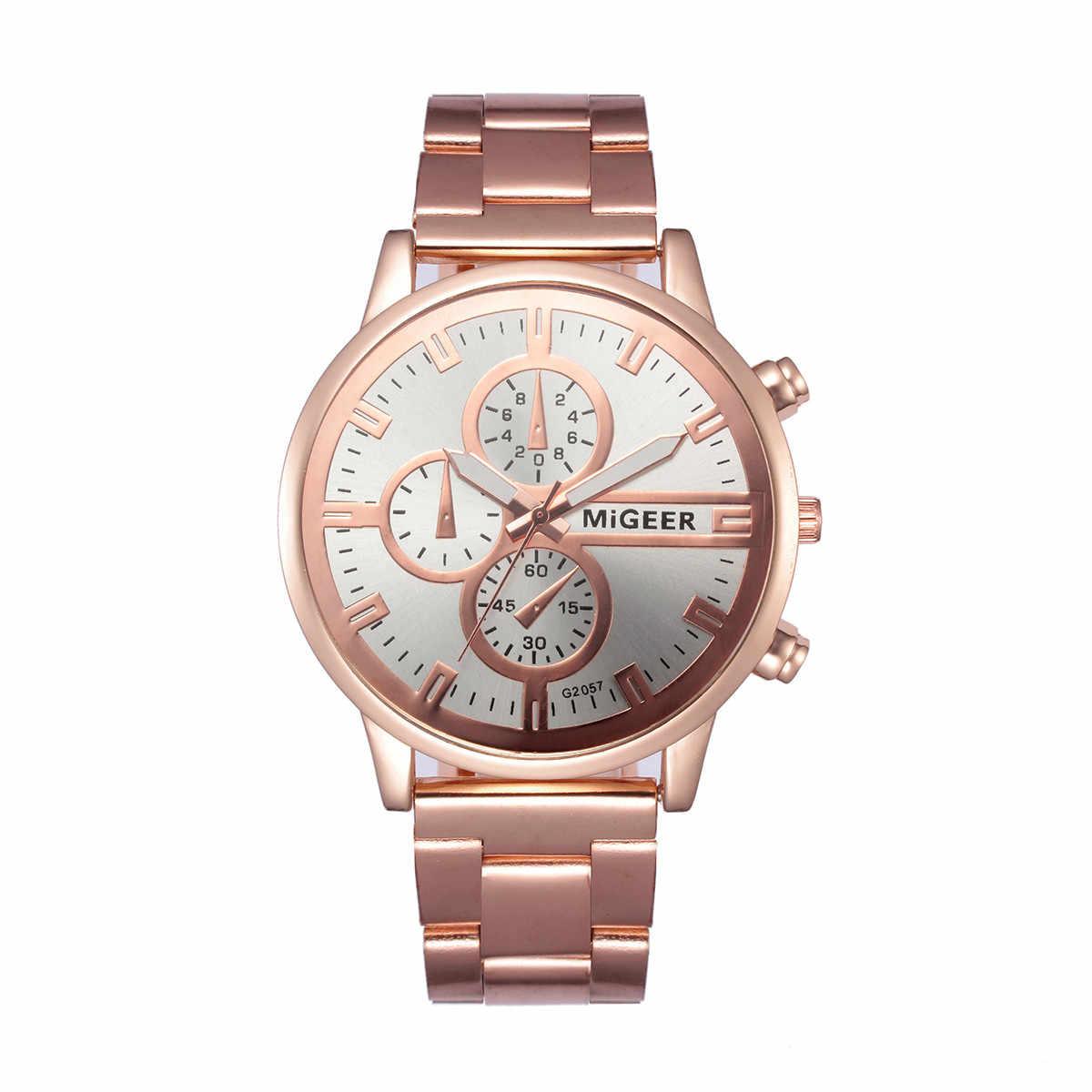 Mode hommes cristal acier inoxydable analogique Quartz montre Bracelet de luxe montres femmes rose or horloge murale erkek saat