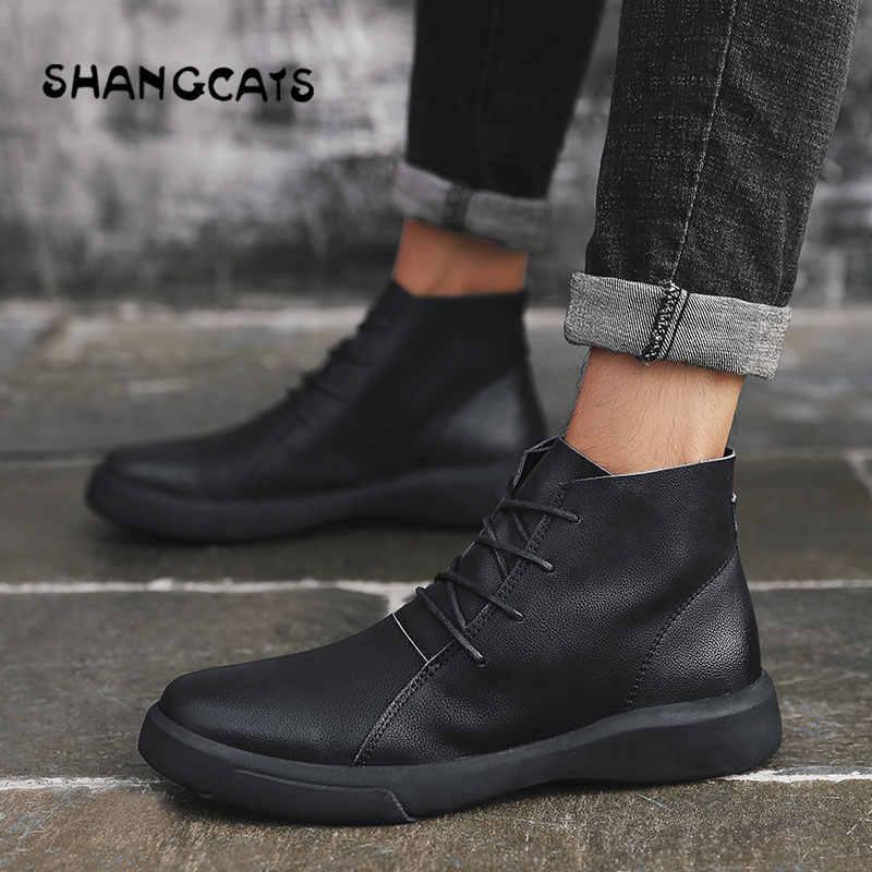 0b2645205fdb Тренд 2018 зимняя высокая модная мужская обувь повседневная суперзвезда  Платформа Кроссовки для мужчин Вулканизированная Обувь Высокий