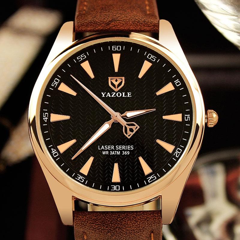Mens Watches New Luxury Yazole Watch Men Watches Fashion Ripple Dial Quartz Watch Business Gentle Clock Designer Male Saati
