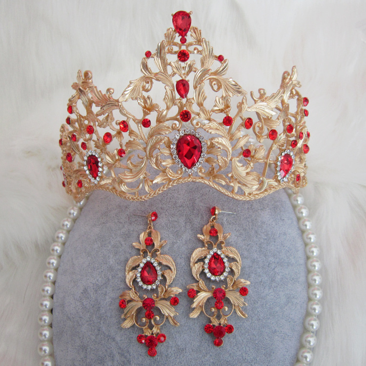 2017 Hot Sale Baroque Magnificent Gold Color Red Crystal Bridal Tiaras Green Wedding Crown for Bride Wedding Hair Accessories 02 red gold bride wedding hair tiaras ancient chinese empress hair piece 02