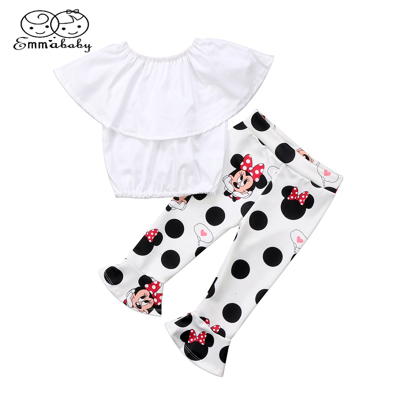 Emmababy Toddler Kids Girls Off Shoulder Tops Cute Mini Mouse Bell-Bottom Pants Outfit Set