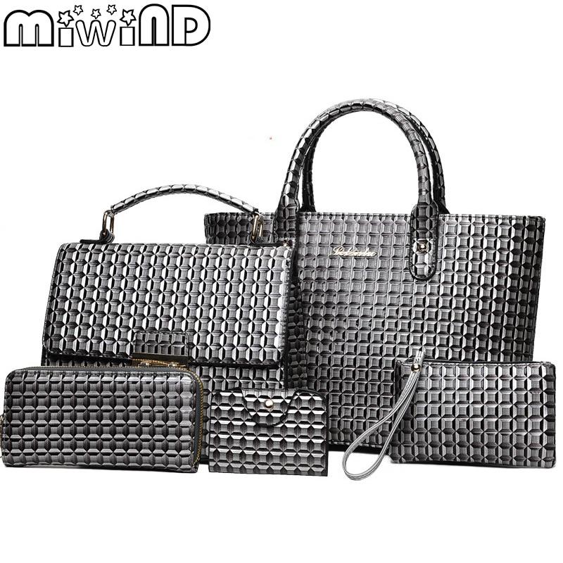MIWIND 2018 NEW Fashion Handbag and Purse Shoulder Bag 5 Piece Set Bag for Women Ladies High Quality Pu Leather Weave Handbags